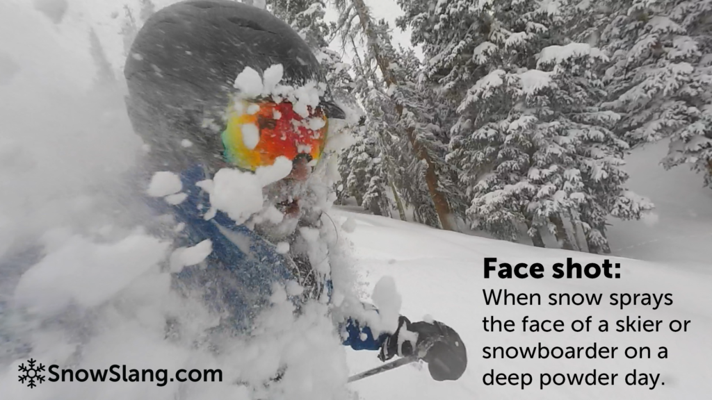 Skiing faceshot at Copper Mountain, Colorado.